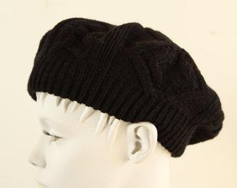Vintage black knit beret hat.