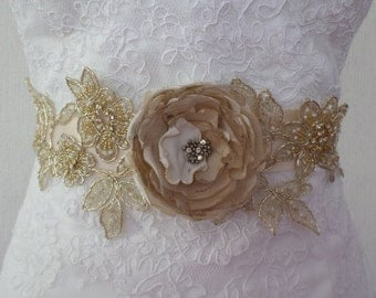 Wedding dress Sash, Champagne Sash, Bridal Sash, Bridal Belt, Lace Sash, Wedding Sash, Bridal Lace Sash, Flower sash, Gold Lace sash belt