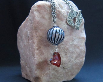 Venetian Glass Swarovski Crystal Heart Circus Necklace - SOLD