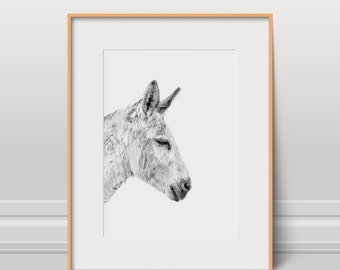 Donkey Print, Animal Poster, Black And White, Instant Download, Kids Art, Nursery Wall Art, Animal Photo, Wild Art, Cute Farm Animal