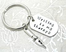 Stamped Keychain, Custom Keychain, Hobby Keychain, Writer Gift, Gift for Writer, Charm Keychain, Writers Jewelry, Writers Block, For Writers