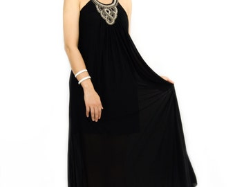Black Halter Maxi with Embroidery