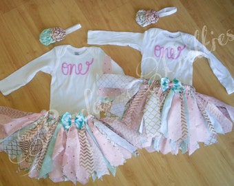 1st Birthday outfit, fabric tutu, pink gold and teal, onesie, headband, rolled flower headband
