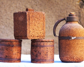 Boxes and insulated bottle Cork vintage-1930 - France