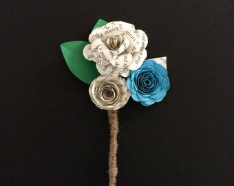 Paper flower book page boutonniere  wedding, prom, formal, dance,  groom accessory