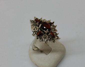 Antique Hessonite Garnet ring Markasiten size 19 mm, size 9.1 SR434