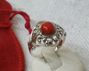 Antique 935 silver ring with carnelian costume SR276