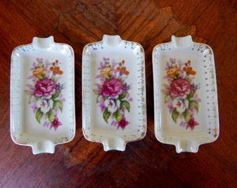 Vintage Norcrest French Bouquet Porcelain Ashtrays (Set of 3), Vintage Ashtrays, Norcrest