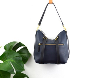 2-in-1 Leather Backpack Convertible Backpack Minimalist Small Navy Leather Bag Shoulder Bag Mabel Mini Pack