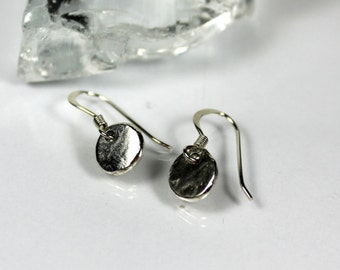 Asymmetrical Pebble Drop Earrings, Recycled Sterling Silver, Dangle Pebble Earrings, Dainty Pebble Earrings, Gift Ideas, Gifts For Her