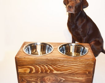 FREE SHIPPING - Elevated Pet Feeder made with Reclaimed Wood, Size Large