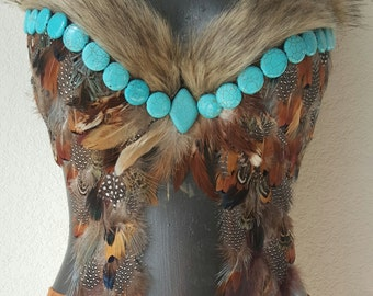native american inspired decorative festival bra- front dangling feather native american bra-top ONLY
