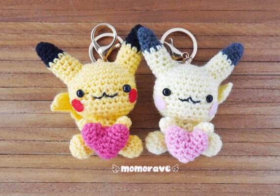 Pokemon Derpy Pikachu hakeln/Amigurumi paar Keychain Set