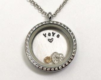 YAYA - Silver Rhinestone Edge or Custom Floating Charm Locket -Memory Locket - Custom Hand Stamped Gift