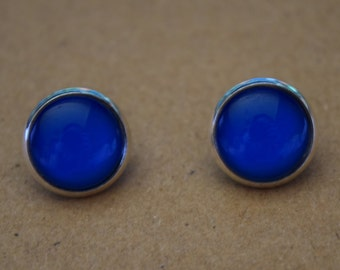 Blue glass dome stud earrings. 14mm with surgical steel and nickel free posts