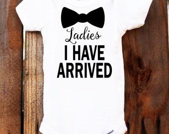 Personalized Newborn Ladies I HAVE ARRIVED Onesie Bodysuit