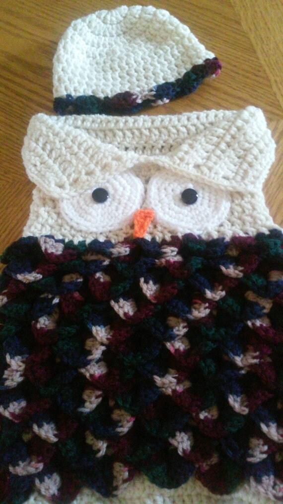 Crochet Pattern For Minion Baby Outfit : Infant Owl Cocoon with Hat Crochet Owl Cocoon Owl Photo