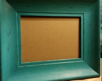 Painted and Distressed Aqua Picture Frame, 5 x 7 Aqua Picture Frame,  Aqua Frame