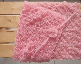 newborn wrap/blanket/layer, pink, flower tie-back