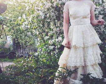 1950s Vintage Lace Wedding Dress- Rare Bohemian Dress- Taffeta Wedding Dress -  Gypsy Wedding Dress- Gypsy Dress-