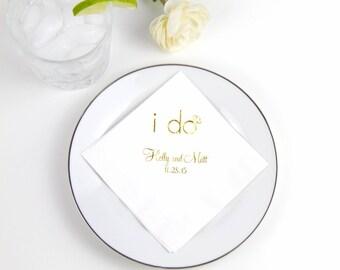 I Do Personalized Wedding Napkins