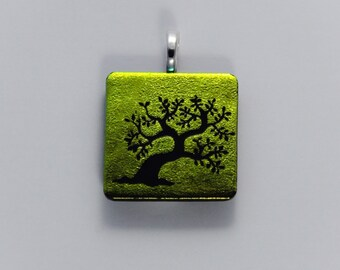 Gold Dichroic Glass Bonsai Tree Pendant