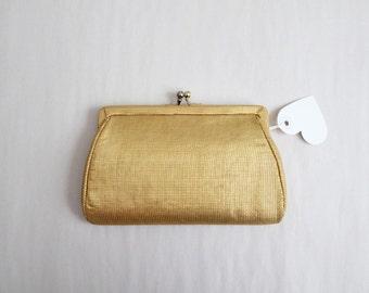 gold kisslock clutch / silk clutch / 1950s clutch