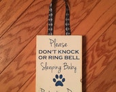 Do Not Knock Sign Sleeping Baby Don't Knock Barking Dog Ring Bell No Baby Shower Gift Door Hanger Knock Softly New Baby Sign Doorknob