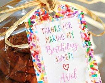 """Rainbow Sprinkle Themed Thank You Favor Tags - Personalized Digital Print - Printable on 8.5"""" x 11"""""""