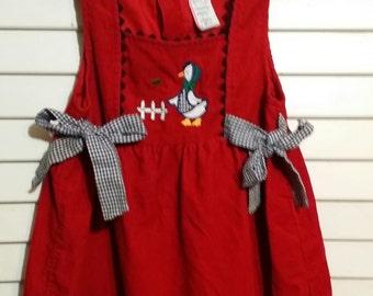 Curtest little girl red goose vintage jupmer dress, size 4T