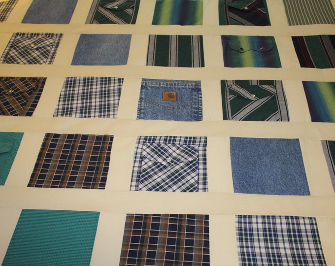 Memory quilt from father's shirts, Memory quilt with sashing, Full size memory quilt, Quilt made from men's shirts, Clothing quilt