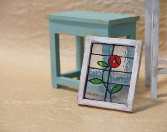 Dollhouse shabby stained glass window - Rose II