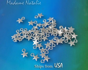 50/100 Star Charms Wholesale, Silver Tone Stars, Small Star Charms, Sky Theme Bracelet Charms, Celestial Charms, Star Jewelry