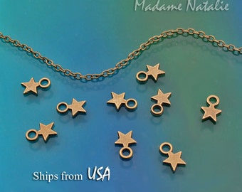 Star Charms (10) Double Sided, Antique Bronze Stars, Small Star Charms, Sky Theme Bracelet Charms, Celestial Charms, Star Jewelry