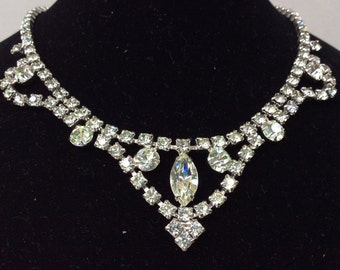 Silver Tone Round and Marquise Cut Rhinestone Bib Necklace