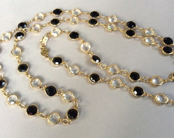 USA Austrian Black and Clear Crystal Gold Tone Necklace