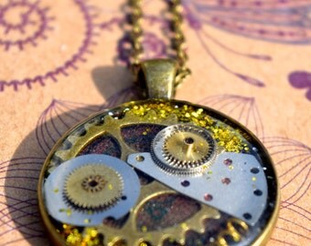 Steampunk Bronze Necklace, Clockwork Pendant, Cogs, Resin Jewelry, Vintage Watch Parts~Worldwide Shipping!