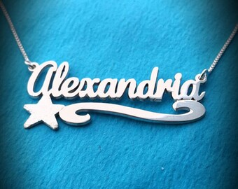 Alexandria Name Necklace Name Necklace With Star Charm Necklace With Your Name My Name On Necklace My Name Necklace regalos para hombres