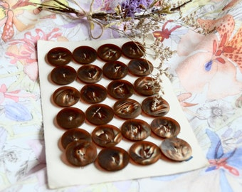 Set of 24 Round Brown Buttons -- Sewing Supplies