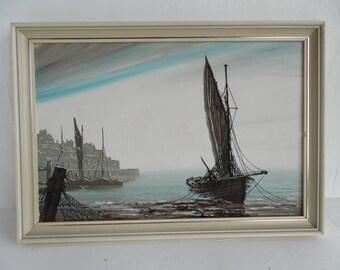 Mid century coastal oil painting, boats, framed, slightly damaged, signed Passuk