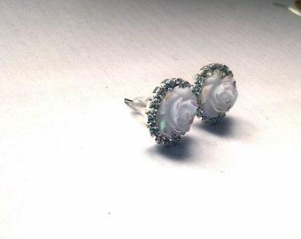 White Rose Earrings white rose studs bridal rose studs bridal rose earrings rose earings white floral earring floral earings flower earrings