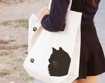 Gifts for cat lover, gift for cat owners, Domestic Longhair Cat, cat gifts, cat tote, pet gifts, cat, canvas tote bag, tote bag, market tote