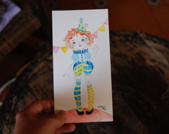 Watercolor original illustration, Circus girl