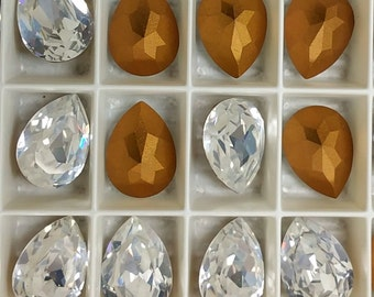 4320 Swarovski Austrian Crystal Tear Drop 15x11, 15x11 foil back tear drop  (6)