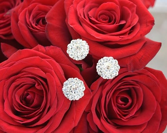 Crystal Silver Hair Pins Set of 3 Rhinestone Wedding Hair Accessories