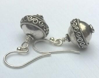 Wire Wrap Swirl Bali and Sterling Silver Earrings, Oxidized, Dangle