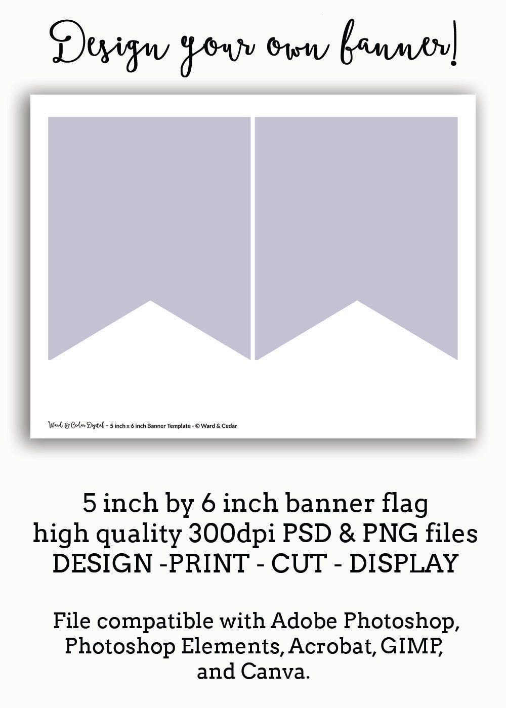 5 x 6 bunting flag banner template pennant instant download