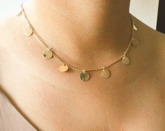 Coin Drop Necklace, Disc Gold Necklace