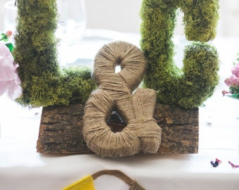 Moss Covered Monogram Top Table Centrepiece