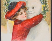 Winsch Postcard, John Winsch New Year, Woman Snowman Card, New Year Postcard, Antique Postcard, Schmucker Postcard